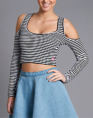 Tulisa TFB Cold Shoulder Striped Crop Top