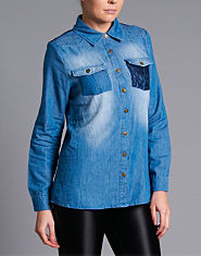 Tulisa TFB Lace Detail Denim Shirt