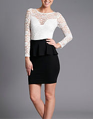 TFNC Lace Top Peplum Dress