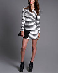 Ribbon Monochrome Textured Dress
