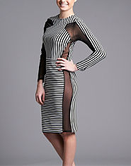 Ribbon Stripe Mesh Bodycon Dress
