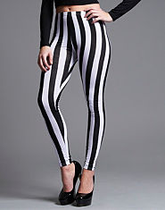 Ribbon Vertical Striped Leggings