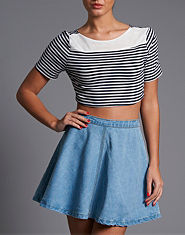 Glamorous Striped Crop Top
