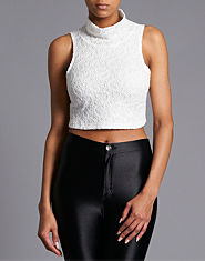 Glamorous Lace Roll Neck Crop Top