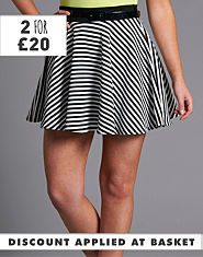 Ribbon Stripe Skater Skirt