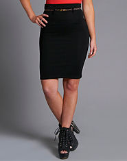 Ribbon Textured Pencil Skirt
