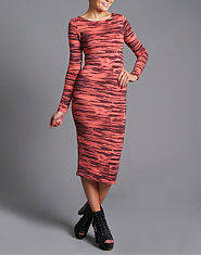 Ribbon Sketch Midi Dress