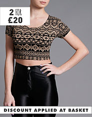 Ribbon Aztec Crop Top