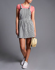 Ribbon Striped Pinafore Dress