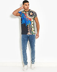 Criminal Damage SOS Acid Wash Skinny Jeans