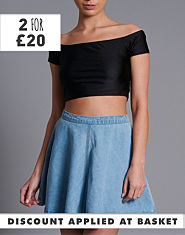 BLONDE & BLONDE Disco Bardot Crop Top