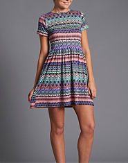 Ribbon Aztec Skater Dress