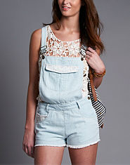 Neon Rose Light Wash Denim Dungarees