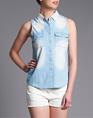 Neon Rose Lace Panel Denim Blouse