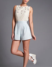 Neon Rose Lace Denim Playsuit
