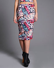 Ribbon Graffiti Midi Skirt