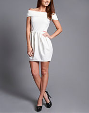 Ribbon Bardot Skater Dress