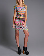 Ribbon Neon Aztec Cut Out Dress