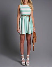 BLONDE & BLONDE Stripe Skater Dress