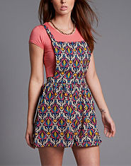 Ribbon Printed Pinafore Dress