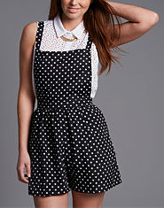 Ribbon Polka Dot Pinafore Playsuit