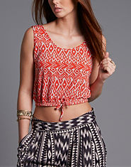 Ribbon Aztec Drawstring Crop Top