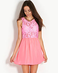 Glamorous Neon Lace Top Dress