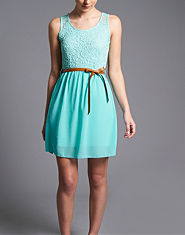 Wal G Lace Chiffon Skater Dress