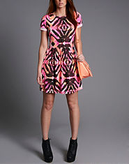 Ribbon Neon Ethnic T-Shirt Dress