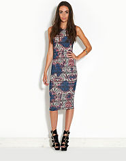 Ribbon Aztec Tie Dye Midi Dress