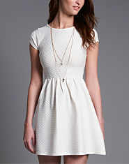 Ribbon Textured Tea Dress