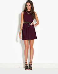 Ribbon Turtle Neck Skater Dress