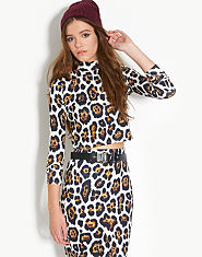 Ribbon Leopard Print Co-ordinate Crop Top