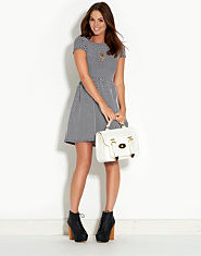 Ribbon Textured Dotted Skater Dress