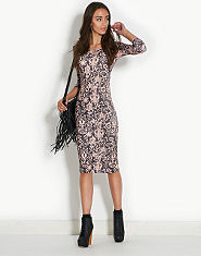 Ribbon Lace Print Midi Dress