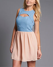 Neon Rose Denim Chiffon Skater Dress