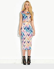 Ribbon Printed Co-ordinate Midi Skirt
